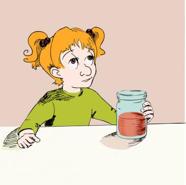 Girl with jam. Vector illustration. stock vector