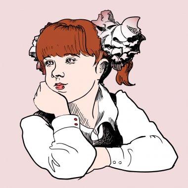 Cute schoolgirl. Vector illustration. stock vector