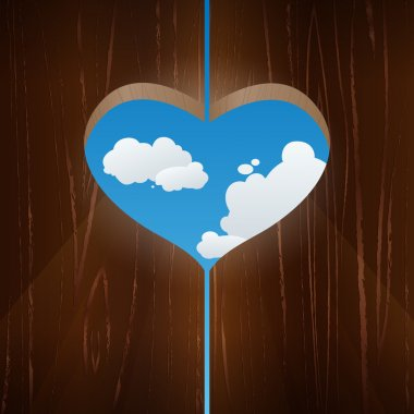 Heart shaped window against the sky. Vector illustration stock vector