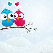 Paar verliebter Vögel. Vektorillustration.