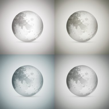 Vector illustration of four transparent moons. stock vector