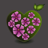 zöld szív, virágok. vektoros illusztráció.