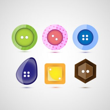 Vector set of six buttons. stock vector
