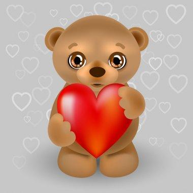 Vector illustration of a teddy bear with a heart. stock vector