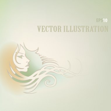 Vector background with woman face. stock vector
