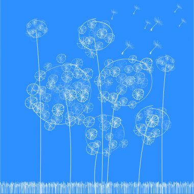 Vector background with dandelion. stock vector