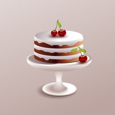 Vector illustration of a cake with cherry. stock vector