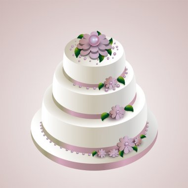 Vector illustration of a wedding cake with flowers. stock vector