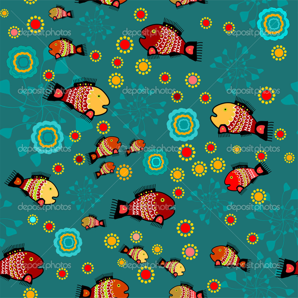 Vector folk background with fishes. stock vector