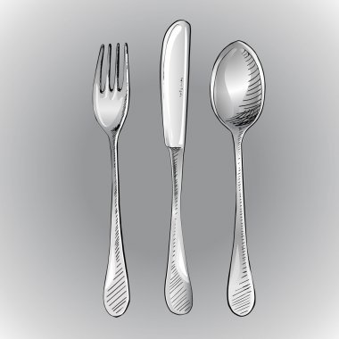 Fork, knife and spoon. Vector illustration. stock vector