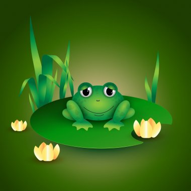 Frog sitting on Water lily leaf stock vector