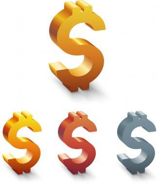 Golden Dollar Sign. Vector illustration. stock vector