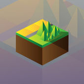 Square maquette of mountains