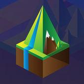 Négyzet alakú makett-hegység