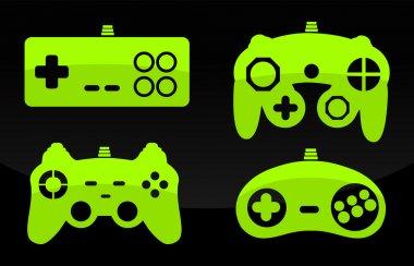 Vector illustration of gamepad joysticks. stock vector