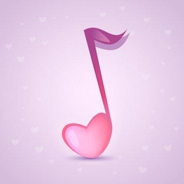 Musical love key. Vector illustration.
