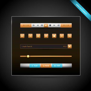 Media control navigation panel. video web elements. vector illustration stock vector