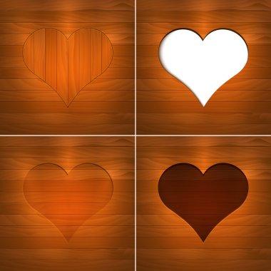 Heart in wood. Vector Background. stock vector