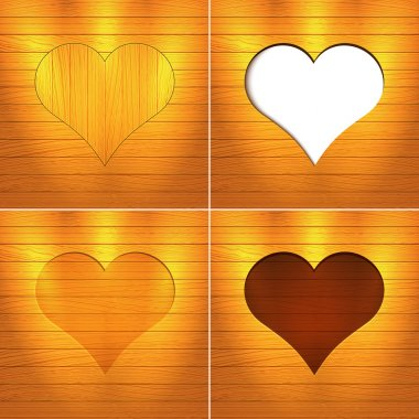 Heart in wood. Vector Background. stock vector