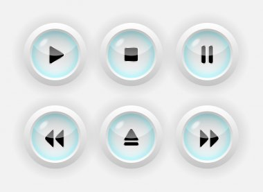 Vector set of media buttons. stock vector