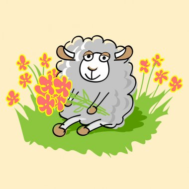 Cute cartoon sheep. Vector illustration. stock vector