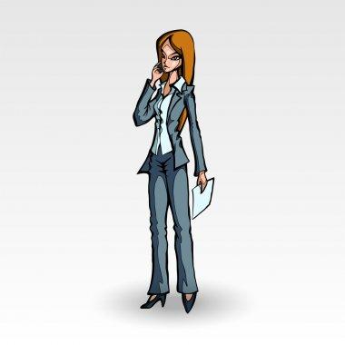 bir iş kadını ile telefon vektör çizim.