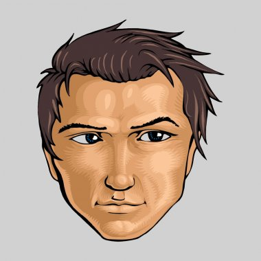 Face of young man. Vector illustration. stock vector