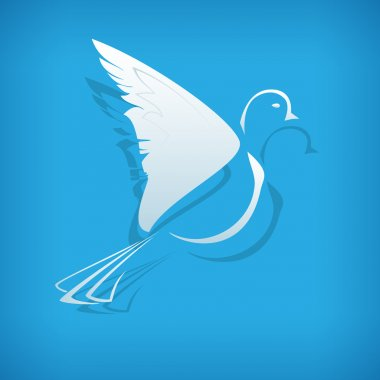Vector paper dove on blue background. stock vector