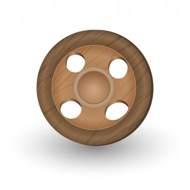 Wooden Button - sewing item. stock vector