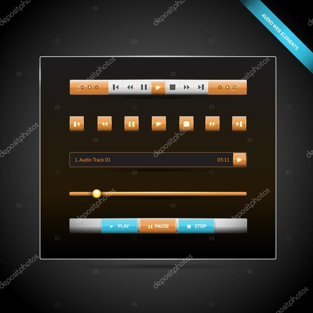 Media control navigation panel. video web elements. vector illustration stock vector