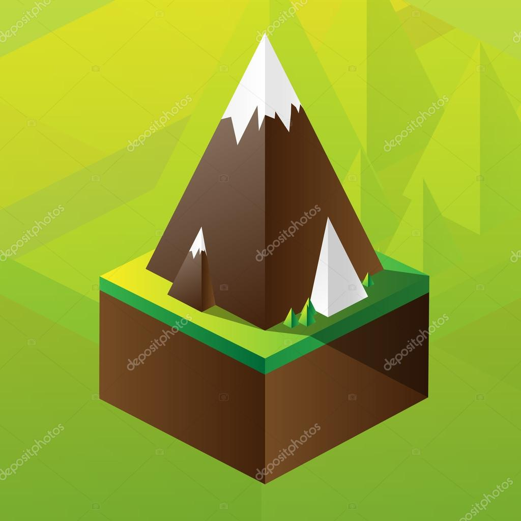 Square maquette of mountains stock vector