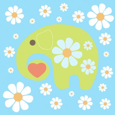 Vector background with elephant and flowers. stock vector