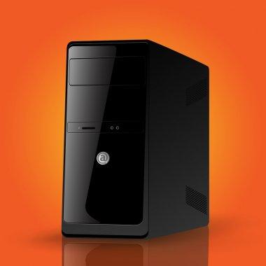 Vector illustration of a black computer case. stock vector