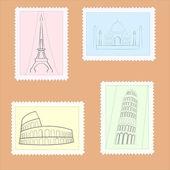 vektorové cesty poštovních známek.