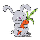 Cute rabbit with carrot.