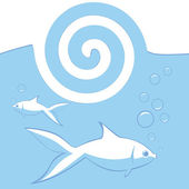 Vector blue background with fishes.