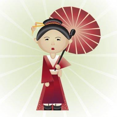 Vector illustration of a geisha. stock vector