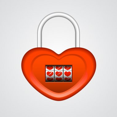 Red heart shaped lock. Vector illustration stock vector