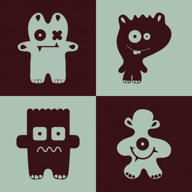 Vector collection of cartoon funny monsters. stock vector