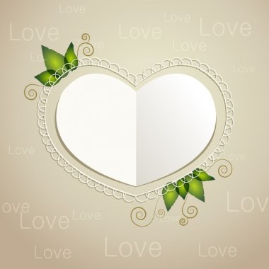 Vector heart shaped paper card. stock vector