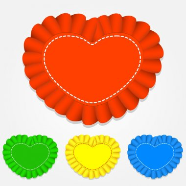 Vector set of heart shaped labels. stock vector
