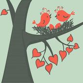 Vogel auf einem verliebten Ast. Vektorillustration.