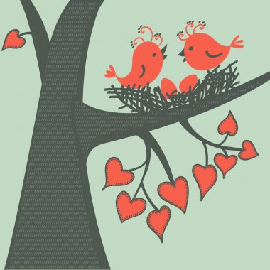 Bird on a branch in love. Vector illustration. stock vector