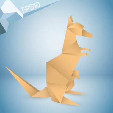Vector illustration of origami kangaroo. stock vector