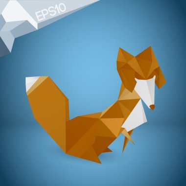 Vector illustration of origami fox. stock vector