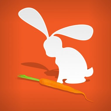 Vector white rabbit with carrot. stock vector