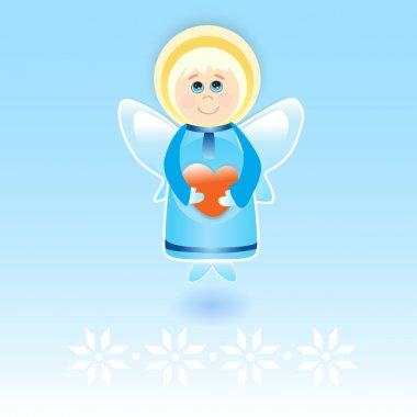 Vector angel with heart. stock vector