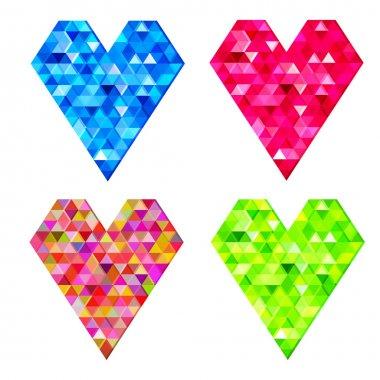 Vector set of mosaic hearts. stock vector
