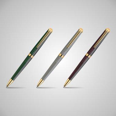 Vector illustration of three pens. stock vector
