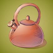 Brown kettle. Vector illustration.